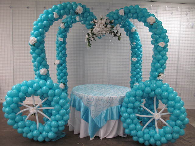 adornos de globos carroza maravillosa elegante