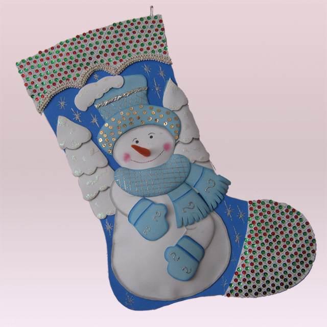 adornos navideños decoración bota papa Noel color azul