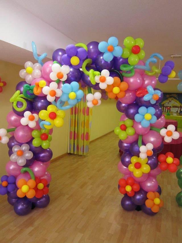 arco enorme pintado globoflexia flores distintos