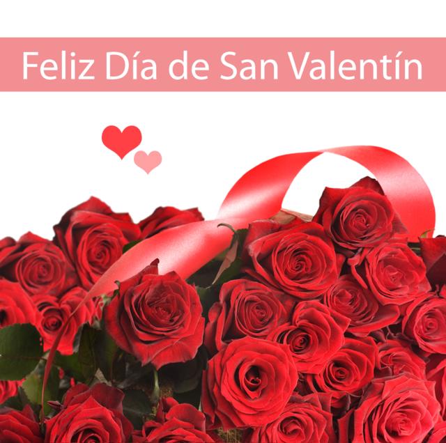 feliz día de San Valentín arreglo rosas rojas