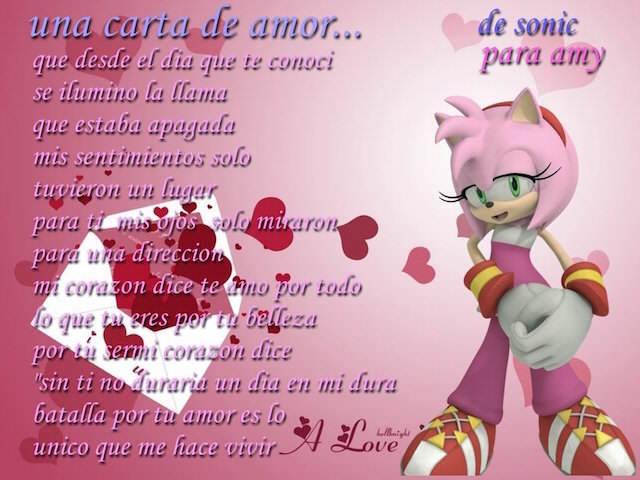 carta de amor sonic amy sentimientos