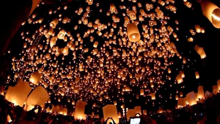 cielo lleno globos cantoya fiesta inolvidable