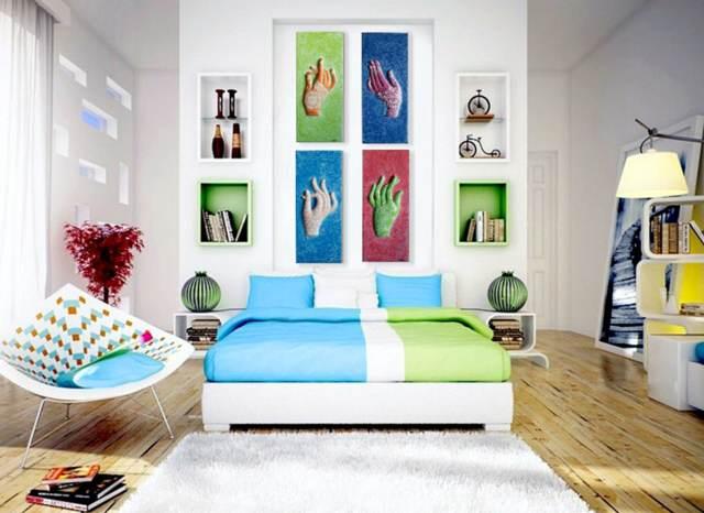 decoracin hogar colores verde azul cuadros tendencias nuevas