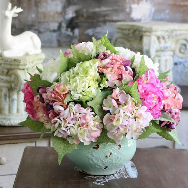 decoración estilo vintage flores artificiales preciosas