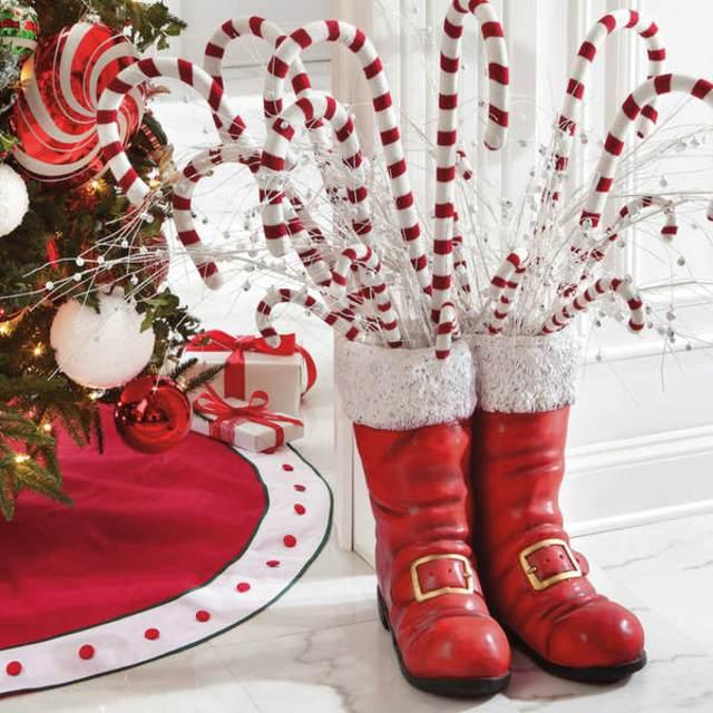 decoración original Navidad las botas rojas