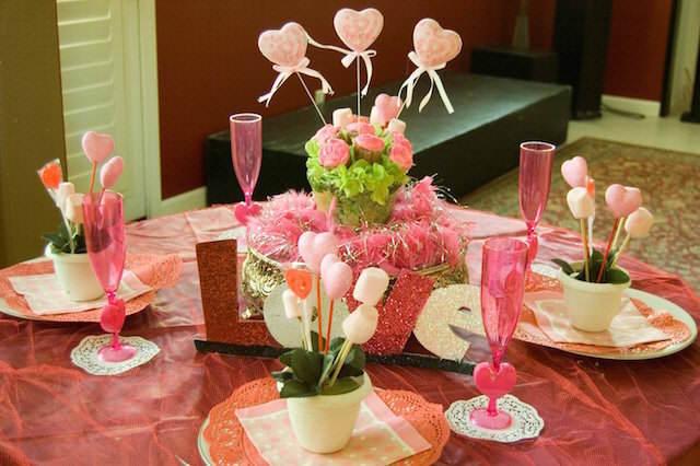 decoración romántica rosa día de San Valentín