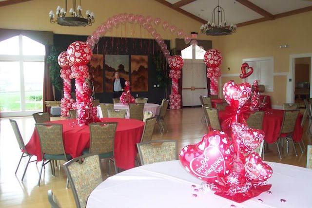 decoración temática globos día de San Valentin