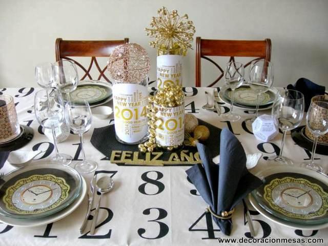 decoración mesa el año nuevo