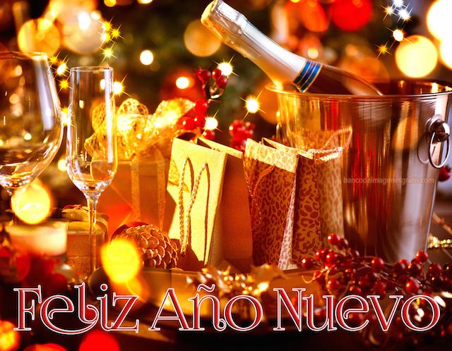 feliz Año Nuevo champaña decoración preciosa