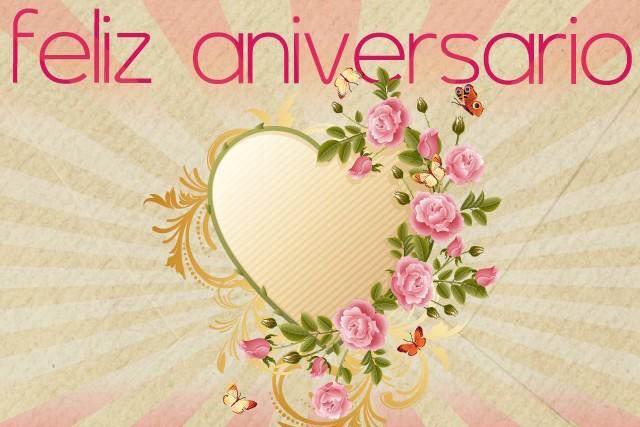 feliz aniversario frases tiernas corazón flores