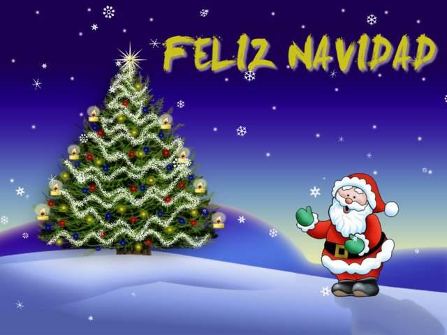 Feliz Navidad un árbol Papá Noel