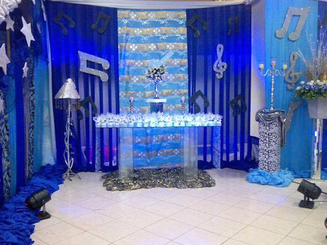 fiesta temática música color azul real