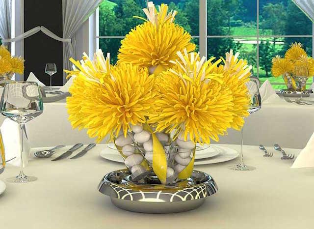 flores amarillas piedras blancas combinación preciosa