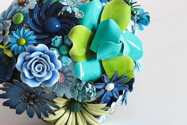 flores artificiales ramo precioso colores azul verde