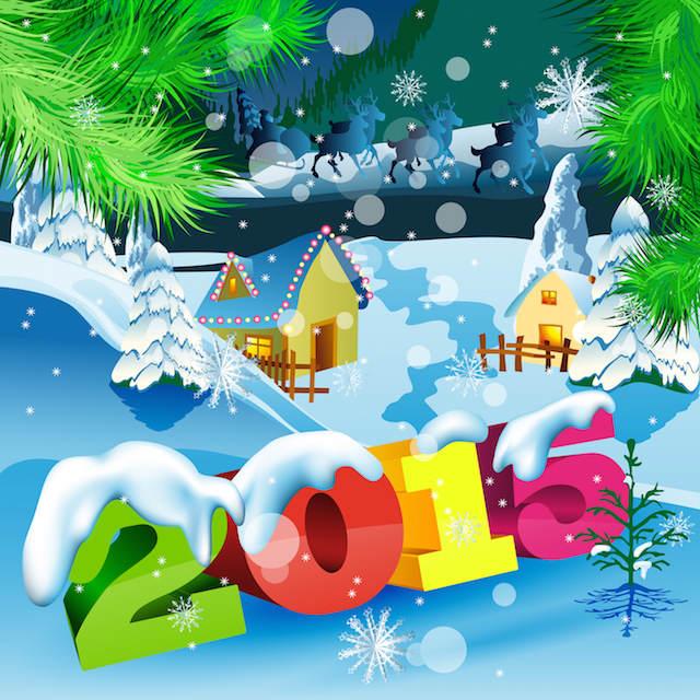 frases de Año Nuevo 2015 tarjeta pintada