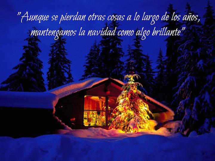 frases de Navidad invierno hogar brillo noche
