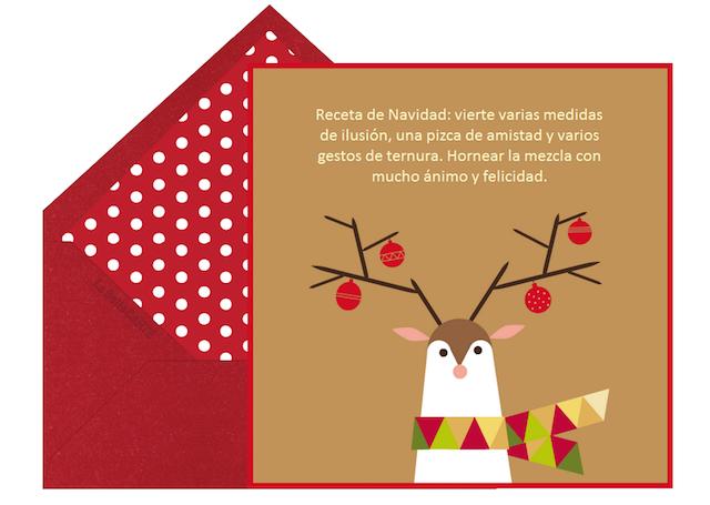 frases de Navidad tarjetas originales ciervo decorado