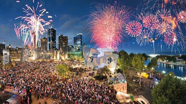 fuegos artificiales impresionantes Melbourne Año Nuevo 2015
