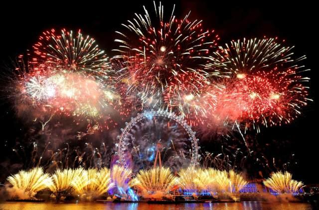 fuegos artificiales atmósfera el Año nuevo