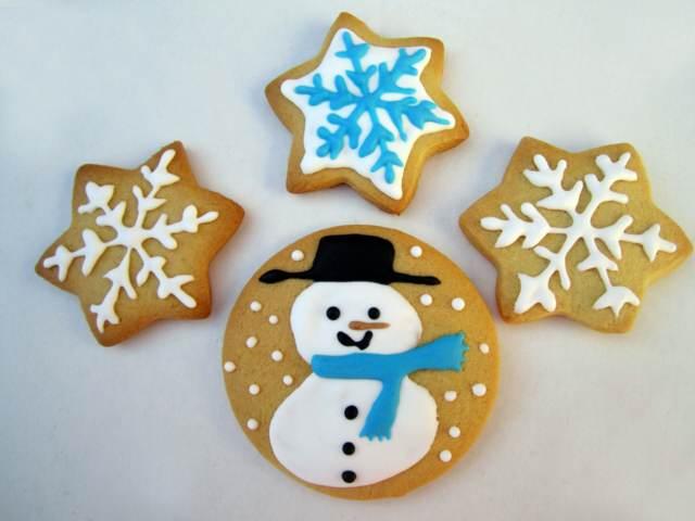 galletas decoradas Papá Noel copos de nieve