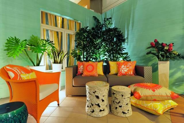 ideas magníficas decoración hogar color verde naranja