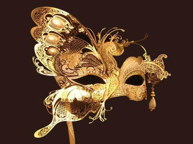 máscara color oro fiesta temática