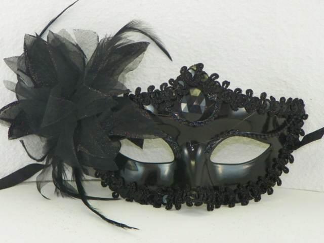 máscaras de carnaval lindas pluma color negro