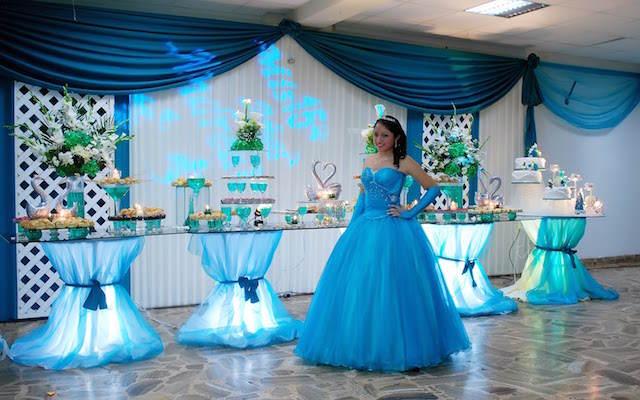 muchacha preciosa vestido azul decoración relacionada
