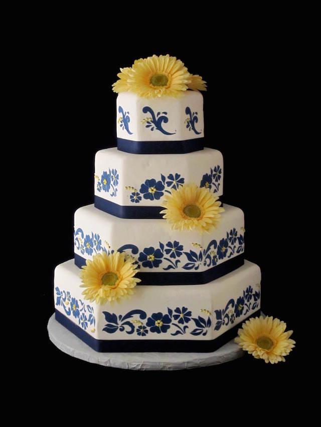 pastel boda elegante decorado flores amarillas azules