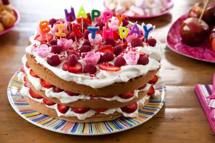 pastel frutas feliz cumpleaños decoracion