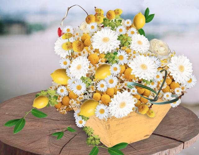 preciosa decoración boda flores amarillas blancas limones