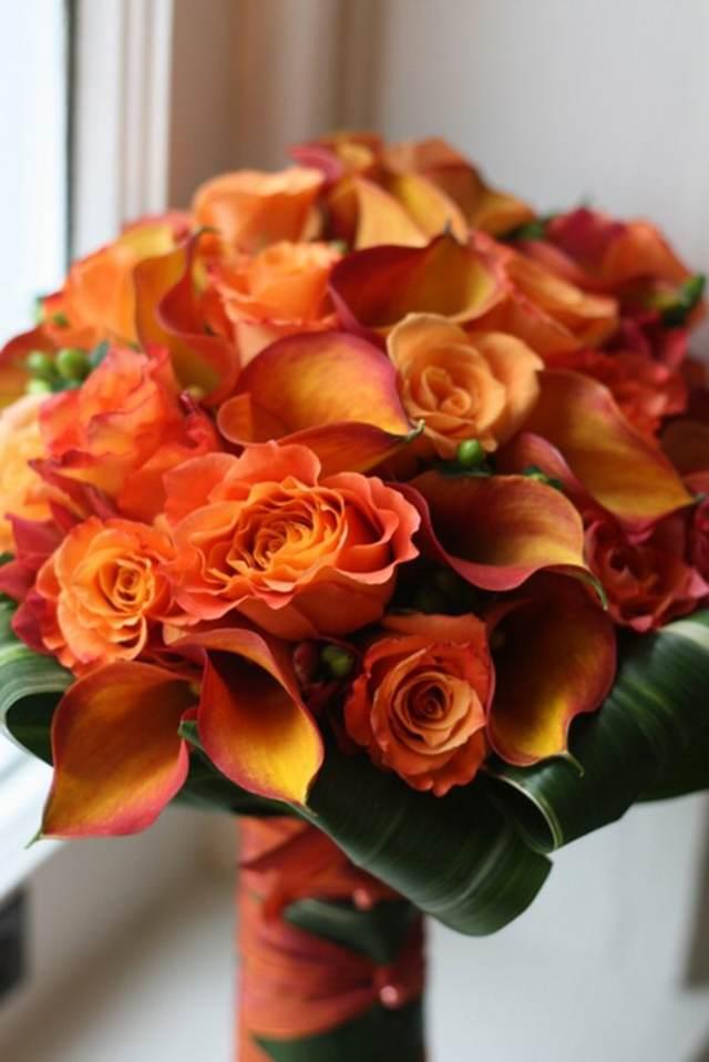 ramos rosas naranjas boda decoración original