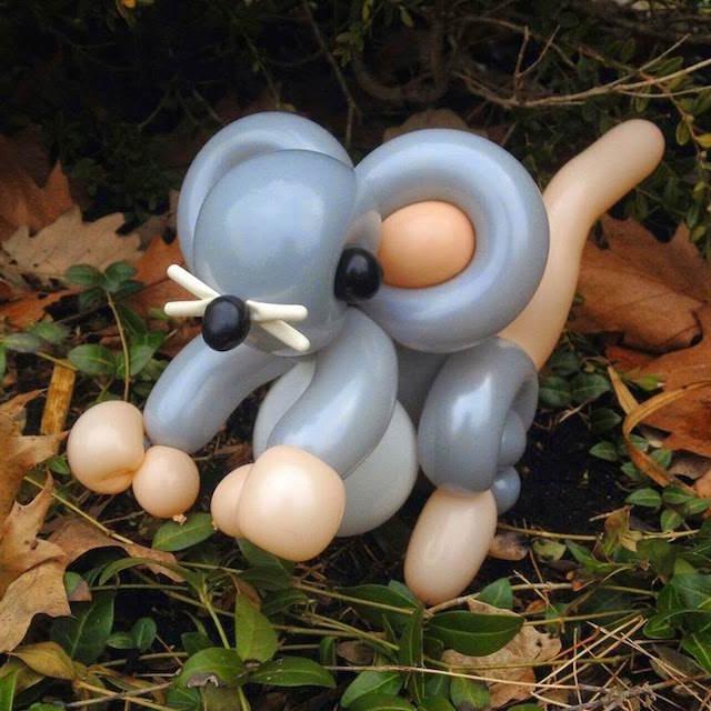 ratón globoflexia preciosa figura real naturaleza