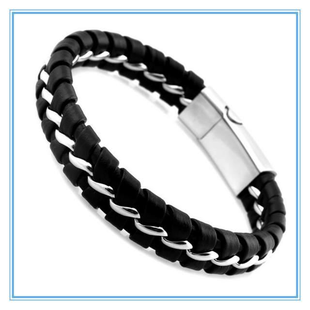 regalos originales hombres pulsera negra cuero punto magnético