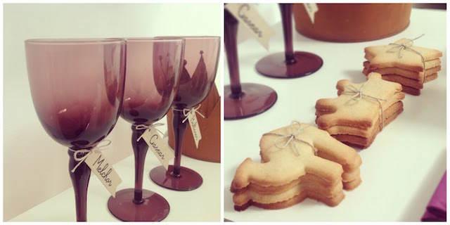 reyes magos mesa decorada temáticamente nombres copas galletas