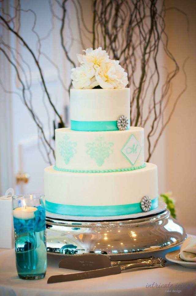 pastel temático color aguamarina boda 2015