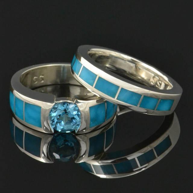 anillos de boda tematica color turquesa