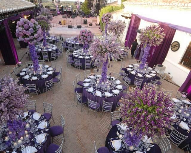 arreglos de mesa para boda fabulosa  color moderno lila