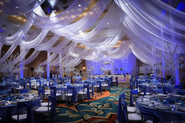 azul decoración boda preciosa ideas originales