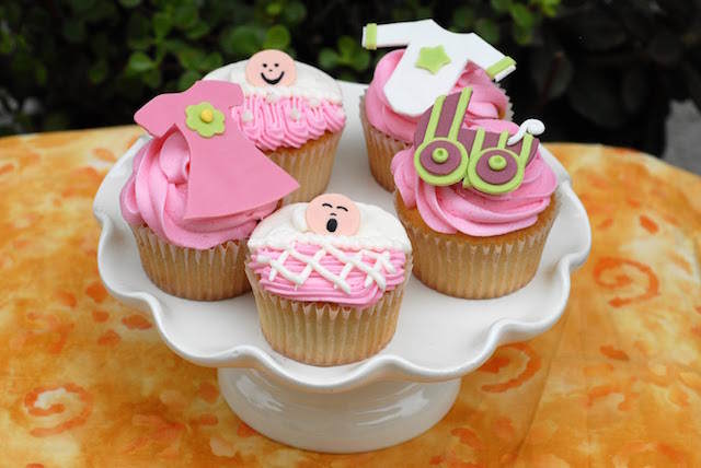 baby shower cupcakes bebé niña color rosa