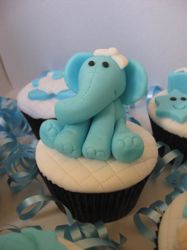 baby shower cupcakes temáticos niño elefante