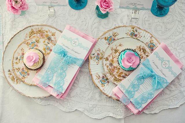 boda estilo vintage turquesa rosa bebé