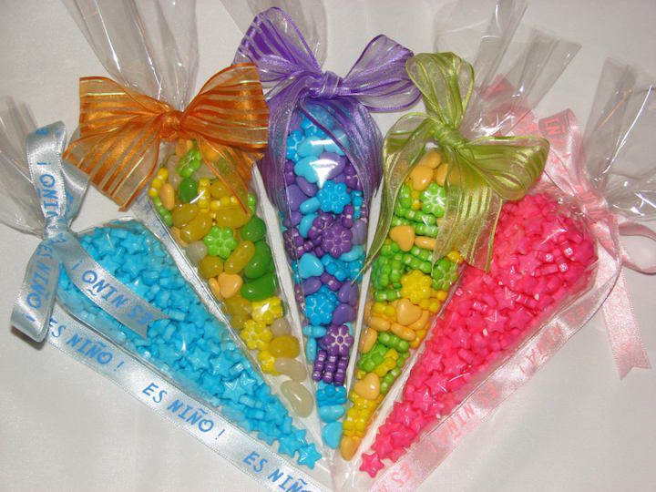 bolsas de celofán dulceros para fiestas infantiles pintados