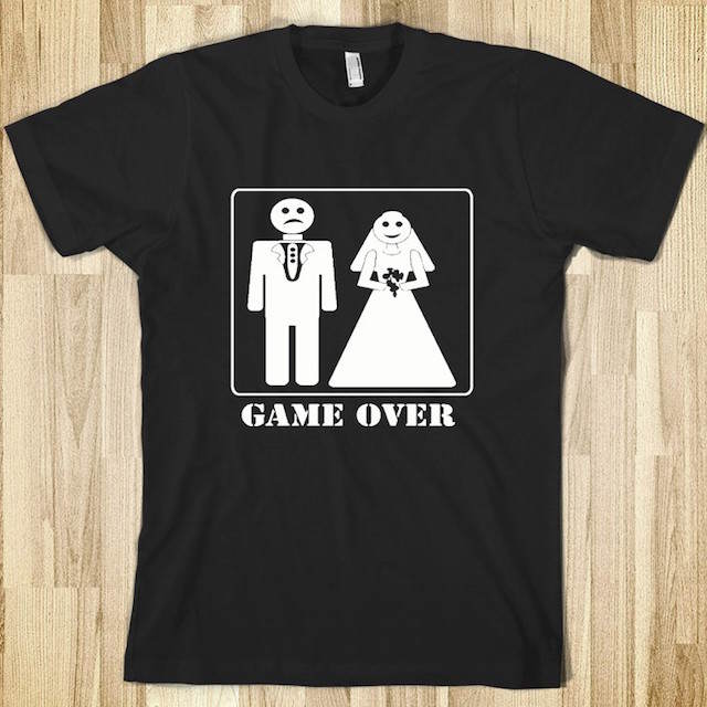 camiseta letrero game over despedida de soltero