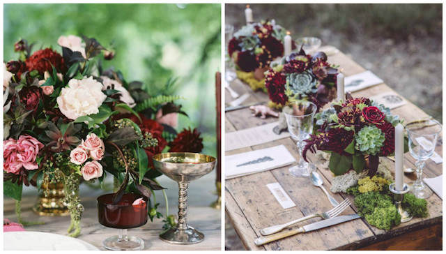 centros de mesa decoración boda color moderno 2015
