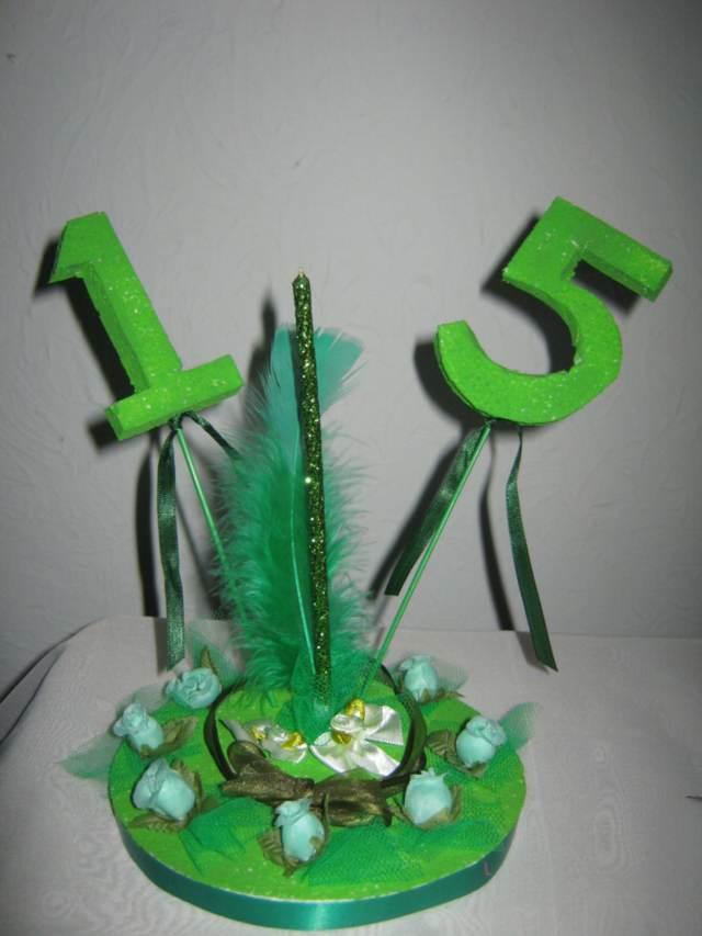 centros de mesa color verde fiesta preciosa 15 años ideas