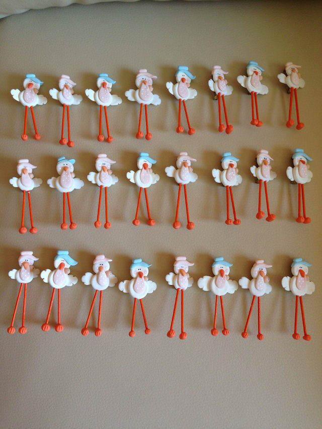 cigüeñas simpáticas distintivos para baby shower temático