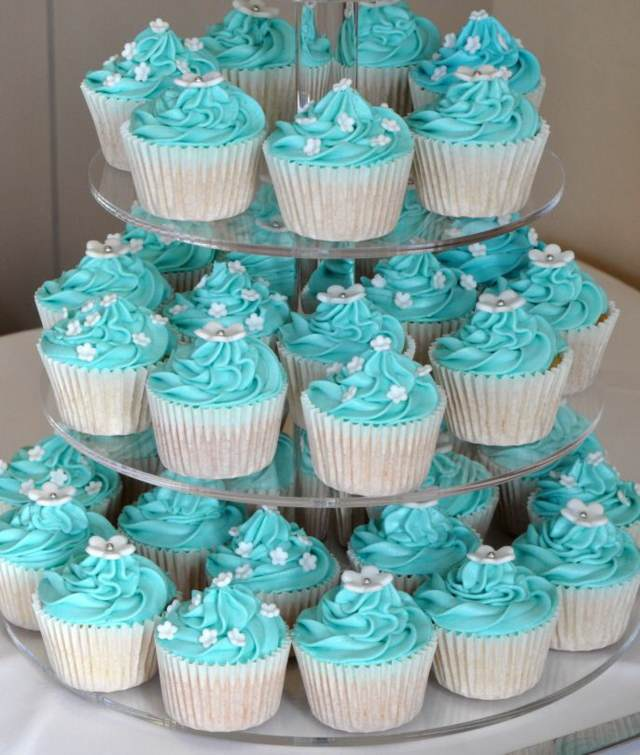 color azul decoración cupcakes dulces decoración boda