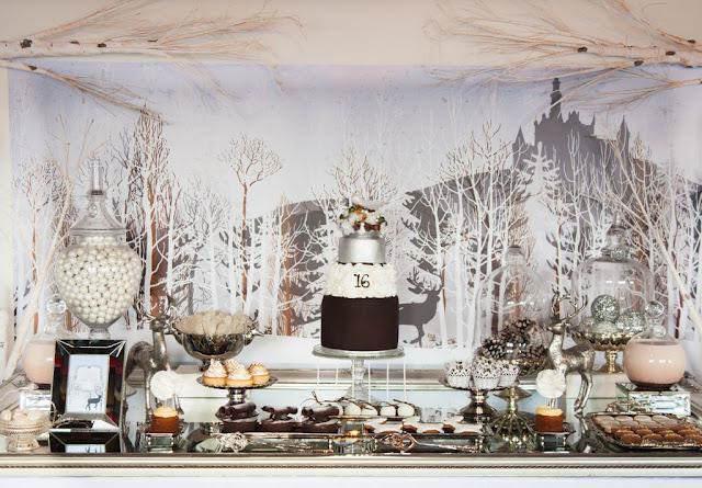 color blanco decoración fiesta tema bosque invierno