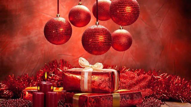 decoración de Navidad color rojo típico regalos